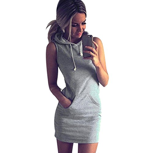 Internet Fashion Womens Summer Casual Sleeveless Hoodie Dress (UK8/S)