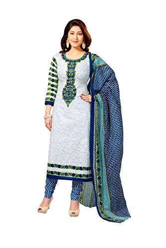 Vaamsi Womens Blended Unstitched Salwar Suit Dress Material (Cocp111 _White _Free Size)