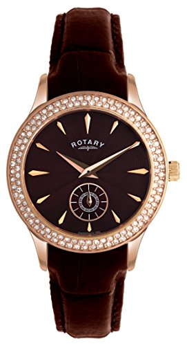 Rotary Women's Quartz Watch with Brown Dial Analogue Display and Brown Leather Strap LS02907/16