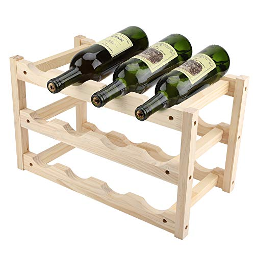 Botellero Estante Vino 12 Botellas Madera Soporte