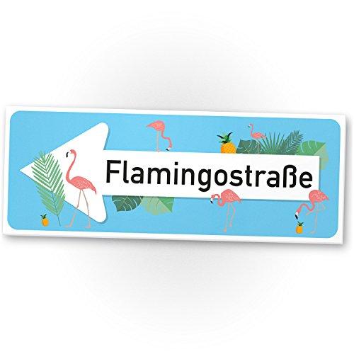 Flamingo Kunststoff Schild – Flamingostraße hellblau, kleines persönliches Geschenk für sie – süße Deko, Wanddeko, Türschild Mädchen-Zimmer, Geschenkidee Geburtstagsgeschenk beste Freundin, Party Deko