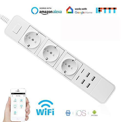 YuaDon WiFi Smart Steckdosenleiste Intelligente WLAN Mehrfachsteckdose mit Überspannungsschutz mit 3 AC-Ausgänge und 4 USB Anschlüsse Kompatibel mit Alexa Google Home und IFTTT (White)