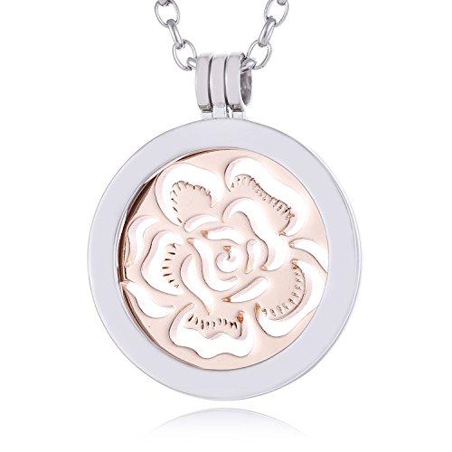 Morella Damen Halskette 70 cm Edelstahl mit Amulett und Coin 33 mm Blütenmeer rosegold in Schmuckbeutel (Große Gold Münze Anhänger)