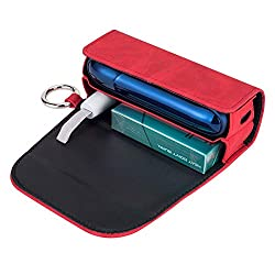 DrafTor E Zigarette Tasche, PU Leder Zigarettenetui für IQOS 3.0 mit mit Clip oder Schnalle (nur Geldbörse)(Rot)