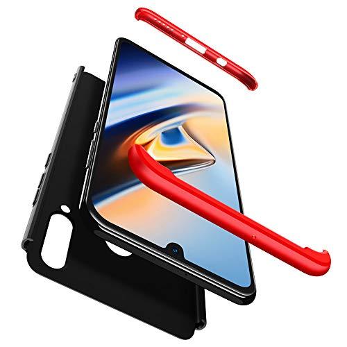 BIZHIKE Cover per Huawei P10 Plus 360°Copertura Protettiva Case PC Guscio Duro Anti Shock Anti-graffio Bumper 360 Gradi Matte Caso+ Film di Vetro temperato-Rosso Nero