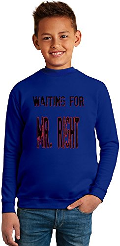Benito Clothing Waiting for Mr. Right Superb Quality Boys Sweater by 50% Cotton & 50% Polyester- Set-in Sleeves- Open End Yarn- Unisex for Boys and Girls