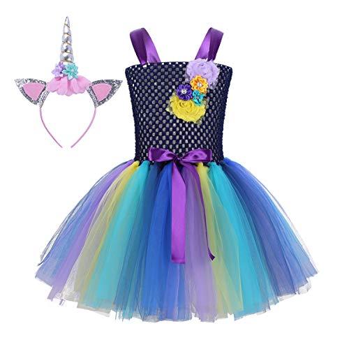 Agoky Mädchen Halloween Kostüm Prinzessin Kleid Einhorn Haarreif mit Ohren Buntes Tütü Cartoon...