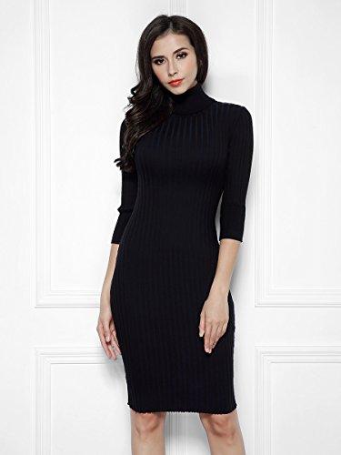 Miusol Wollkleid Strickkleid hoher Kragen figurbetontes Kleid - 3
