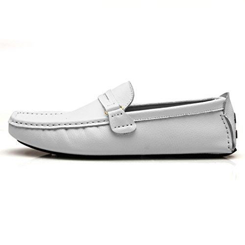 Mens Minitoo Stripe Chaussons mocassins en cuir véritable pour un confort de conduite Loafers Chaussures à enfiler Loafers plats Blanc