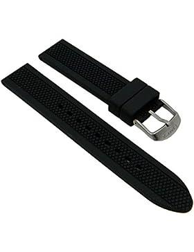 Timex Ersatzband Uhrenarmband Silikonband Schwarz 20mm passend zu T2P184 T2P041 T2P043 T2P183