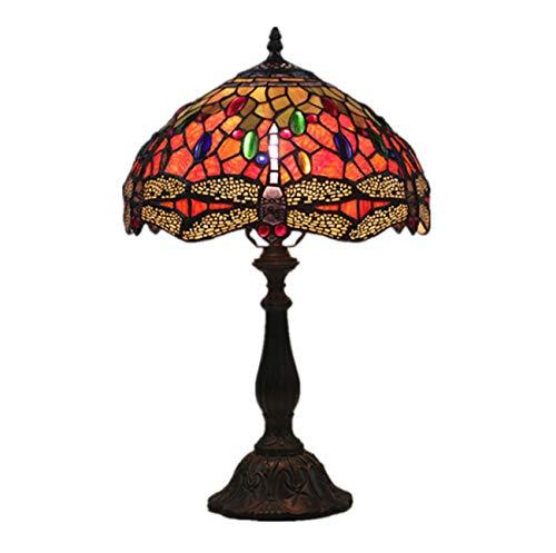 Red Art-glas-tisch-lampe (Yjmgrowing 12-Zoll Tiffany Stil Art Table Lamps Retro Red Dragonfly gestresste Glas dekorative Schlafzimmer-Schreibtisch Lampe für den Studienraum Lighting,E27-Glühbirnen Nicht inbegriffen)