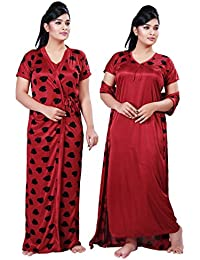 Bailey sells Printed Women's Satin Night Gown/Night Dress/Nighty with Robe Gown 2Pc Nightwear Set Free Size Maroon
