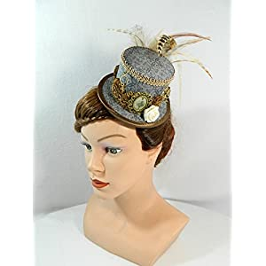 Mini Sommerhut braun Fascinator Damenhut Steampunk Hütchen