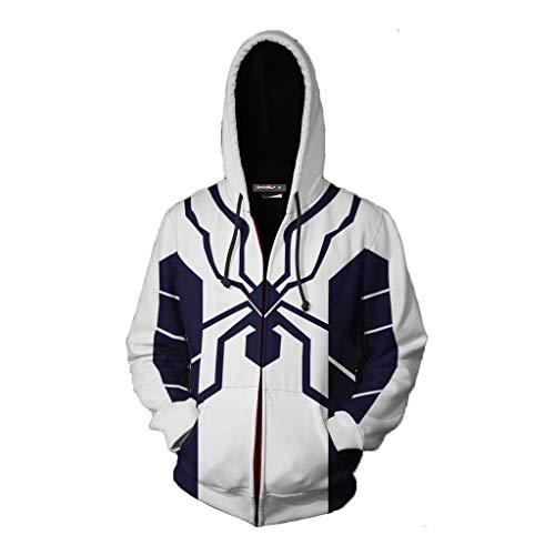3D Cool Print Hoodie Langarm Kordelzug Pullover Einzigartiges Kapuzen-Sweatshirt mit großer Tasche,White,XXXXL ()