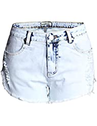 Shorts Femme Couleur Claire Whitish Worn Washed Burr Taille Haute Stretch Denim Loisirs Jeans Pantalons Chauds Night Club