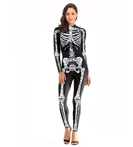 Tossi Erwachsene 1Pc Unitard Schädel Druckvolle Bodysuit Haut Strumpfhosen Halloween-Kostüme,S/M (Skelett Unitard Kostüm)