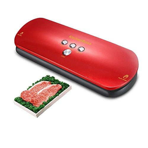 Kitchen Vakuumierer,vakuumiergerat Automatisches für die Aufbewahrung von Nahrungsmitteln, Fleisch, Obst (Rot)