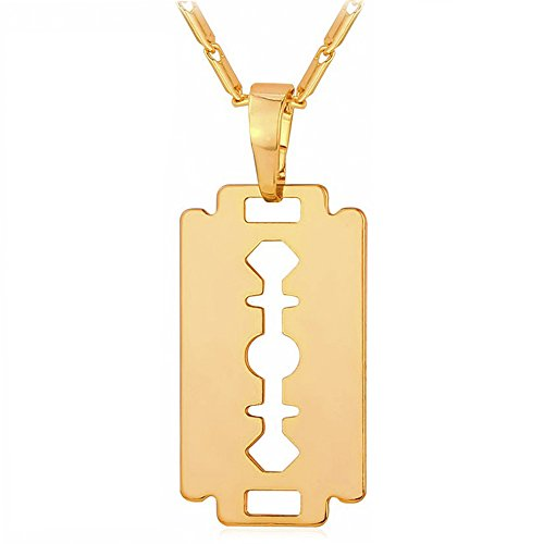 MESE London Collar Hoja Afeitar Chapado Oro 18ct 'The