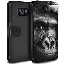 Stuff4 Coque/Etui/Housse Cuir PU Case/Cover pour Samsung Galaxy S6 Edge/Gorille / Singe Design/Animaux Sauvages Collection