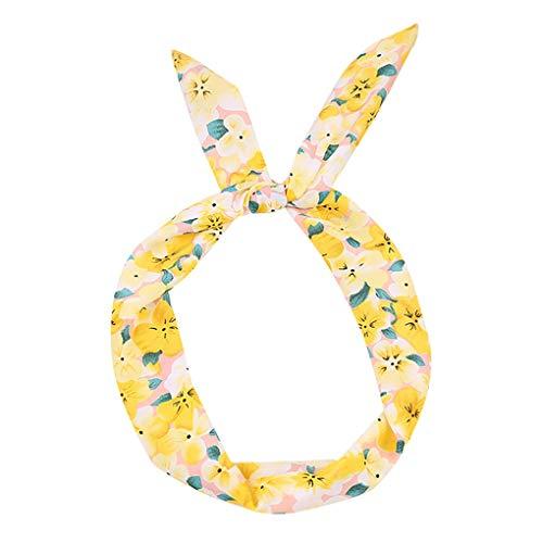 Headband/Dorical Haarbänder Haarschmuck Drucken Blumen Haarreifen Stirnband, Rockabilly Accessoires für Damen Mädchen/Fashion Bow Tägliche Kopfbedeckung/Frauentag-haarbänder(Gelb)