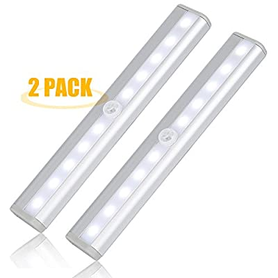 Leadleds LED Motion Sensor Light (2 Pack), Battery Operated, 10 Super-Bright White LEDs, Automatic Sensing With Magnetic Strip Sense Wall Light For Closet, Bathroom, Door, Pathway, Stairs Light, Hallway produced by Leadleds - quick delivery from UK.