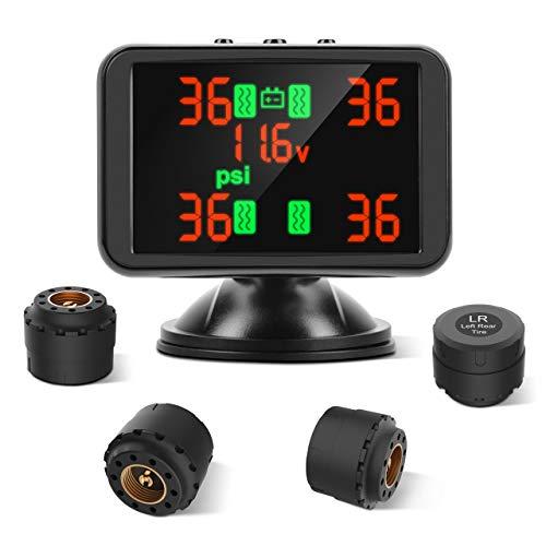 Tpms Auto Reifendruck kontroll System,Reifendruck Monitor System,Wireless LCD Display Digital Reifendruckmesser mit 4 Sensoren für Home Car