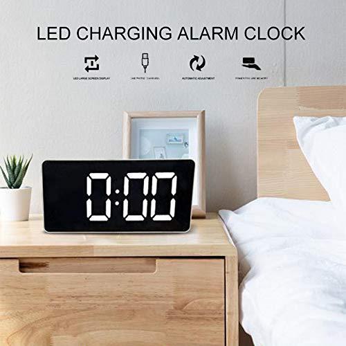 Junchuang Reloj Despertador Digital LED, Reloj Despertador con Espejo, Temperatura, Tiempo, Brillo Ajustable...