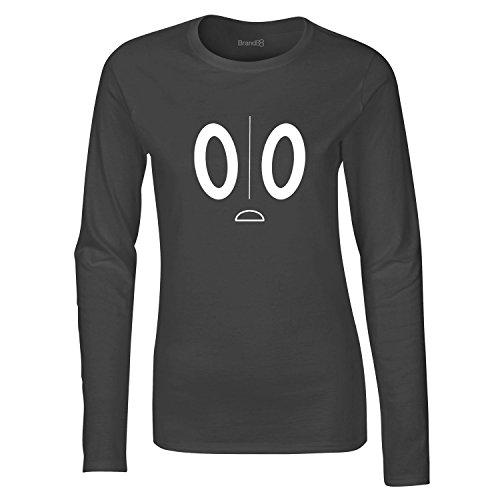 Brand88, Spooky Friend, Dames t-shirt à manches longues Gris Charbon