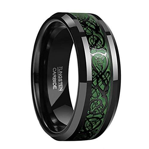 Natur Fashion Damen Herren Partner Ring aus Wolfram 8mm Schwarz-Grün mit Keltischen Drachen für Hochzeit Verlobung Geburtstag Größe 54 (17,3 mm)