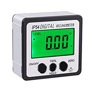AUTOUTLET Digital Inclinometer Protractor 4x90°Level Box Angle Finder Green Backlight Level Gauge Bevel Gauge with Magnetic Based in/FT,mm/m,Silver ...