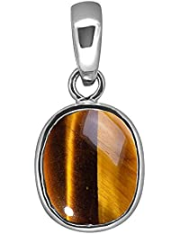 Accurate Traders Natural Tiger's Eye Rashi Ratna Silver Pendant 12.25 Ratti (11.1 carats) Stone Origional and Certified by GEMOLOGICAL LABORATORY OF INDIA (GLI) Chiti Precious Gemstone Chandi Locket Unheated and Untreated Top Quality Gems for Astrological Purpose