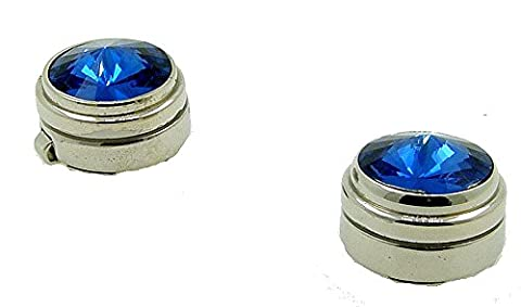 Blue Rhinestone and rhodium plated button covers / faux cufflinks