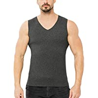 ❤️Heligen Hombre Color Sólido Sport Chaleco de Algodón de Felpa Cálida Muscular del Camisetas Sin
