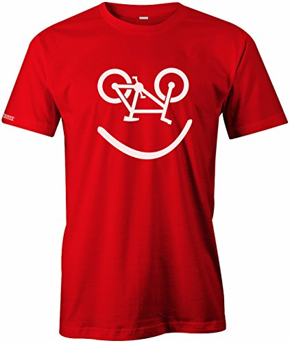 Bike Smiley - Fahrrad Hobby - HERREN T-SHIRT in Rot by Jayess Gr. M