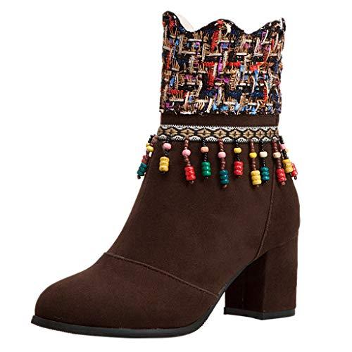 ❤Loveso❤ Damen Ankle Boots Folk-Custom Trendige Damen Stiefeletten Blockabsatz Plateau Chunkyrayan Stiefel