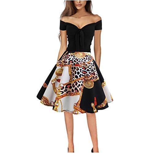 Honestyi Frauen Vintage 50er Jahre Retro Ärmellos V Ausschnitt Abendparty Prom Swing Dress Ärmelloses Kleid mit Retro V Ausschnitt für Damen HYN573(Schwarz,M)