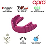OPRO Snap-Fit Mouthguard | Gum Shield for Rugby, Hockey and other Contact Sports, Hot Pink, Kids
