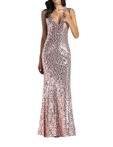 a36ebccc2902 SOMTHRON Damen Sexy Ärmellos Lange Bodycon Rosé Gold Pailletten Party Ball  Tanz Kleid Bodenlangen Sparkle Neckholder