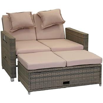 clp polyrattan 2er loungesofa ancona garten sofa mit ausziehbarem fu teil und verstellbarer. Black Bedroom Furniture Sets. Home Design Ideas