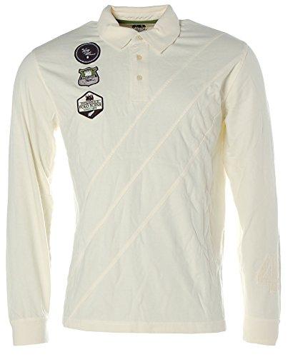 Kitaro Herren Langarm Shirt Poloshirt Polokragen Auckland Polo Club Weiss