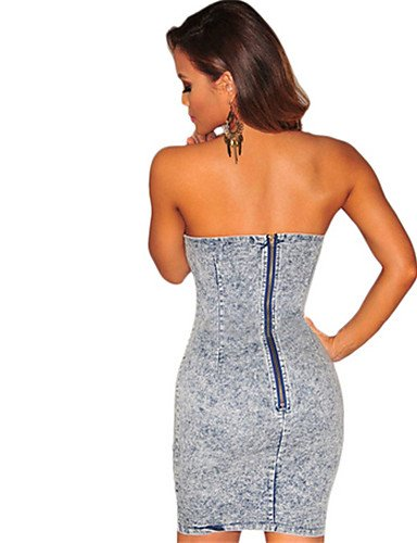 PU&PU Robe Aux femmes Denim Street Chic,Couleur Pleine Sans Bretelles Au dessus du genou Coton LIGHTBLUE-L