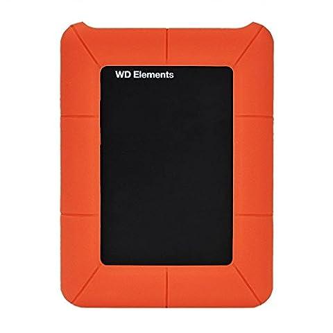 Expower Housse Étui pour WD Elements Boîtier Externe 2,5 Pouces HDD Disque Dur USB 3,0 Case Cover Anti-choc Coque de Protection en Silicone Orange