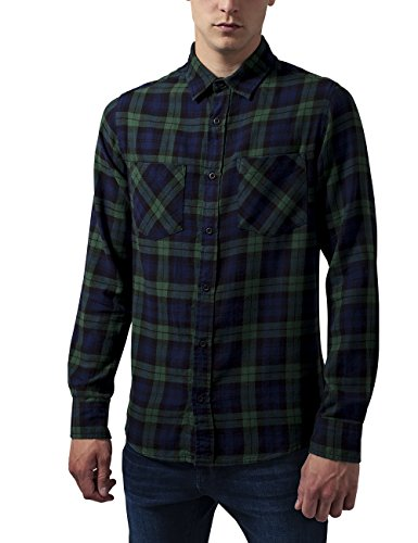 Urban Classics Checked Flanell Shirt 3, Camicia Uomo, Mehrfarbig (Forest/Nvy/Blk 802), Large