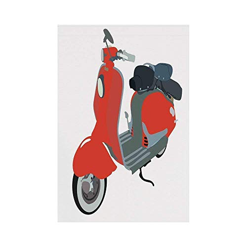gthytjhv 1960s Decorations Motor Scooter Doodle in Nice Sixties Style Driving Motorcycle Urban Cartoon Clipart Decorative House Garden Family Event Decoration (Xbox Motor)