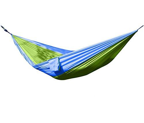 Parachute léger tissu élargi loisirs Hamac Bleu Vert