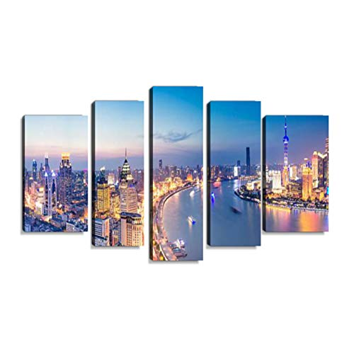 Inbel Kunst Skyline von Shanghai bei Nacht Wandbilder abstrakt Leinwandbild Digitalkunstdruck leinwanddrucke Eigenes Design Gemlde Wanddekoration mit Holzrahmen 5-teilig
