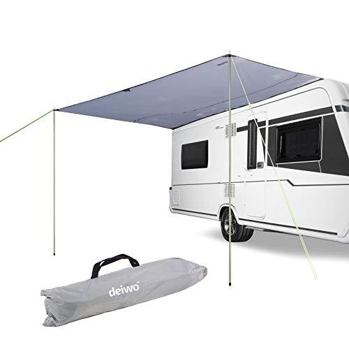 deiwo Sonnensegel für Wohnwagen, Wohnmobil und Bus grau 3,50 x 2,4, für Kederleisten 7 mm,Wassersäule 2000 mm inkl. Aufstellstangen