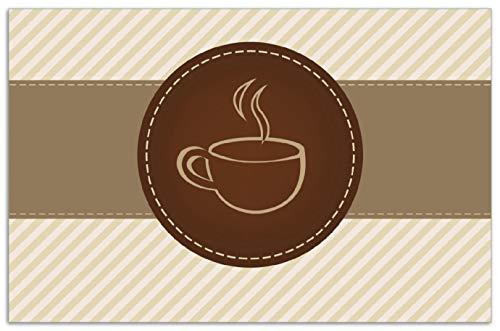 Wallario Herdabdeckplatte/Spritzschutz aus Glas, 1-teilig, 80x52cm, für Ceran- und Induktionsherde, Motiv Kaffee-Menü - Logo Symbol für Kaffee