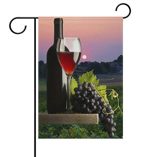 Vintage Red Wine Grapes Double Sided Garden Yard Flag, Country Vino Wine Summer Autumn Decorative Garden Flag Banner for Outdoor Home Decor Party(Size: 12.5inch W X 18 inch H)
