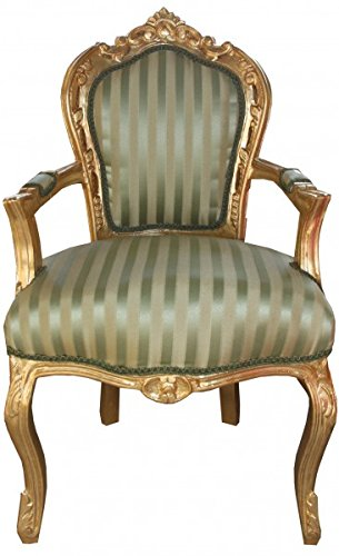 Casa-Padrino barroco Silla verde de la cena/crema de rayas/oro con reposabrazos - Muebles Antiguos